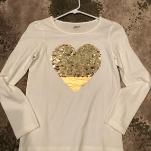Heart shirt with reversible sequins, gold to red